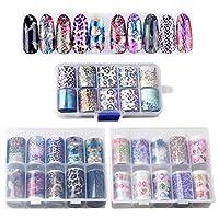 nuoshen 30 Pcs/3 Box Holographic Nail Art Stickers, Nail Glitter Transfer Foil
