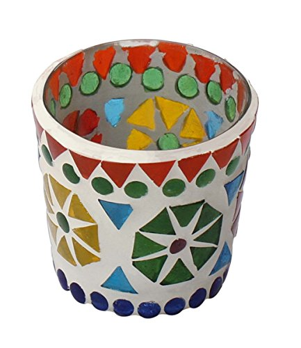 Sale on Tealight Holders - Set of 2 Glass Mosaic Art Tealight Holder 5.8 Centimeter - Handmade Votive Candle Holders - Decorative Colourful Centrepiece Lights - Table Top for Home Dining Decor