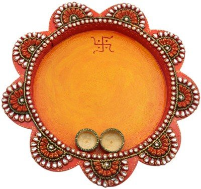 JaipurCrafts Decorative Kundan Studded Flower Wooden Pooja & Thali Set (1 Pieces, Multicolor)