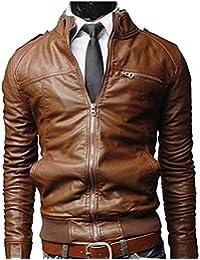 Amazon.it  giacca ecopelle - Marrone   Uomo  Abbigliamento a284a34dda1