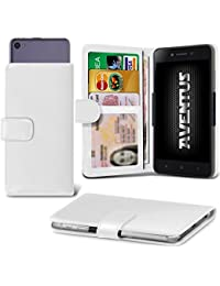 Aventus (White) Wileyfox Spark Universal Case Etui Housse Wallet Spring Clamp Premium Pu Cuir Avec Caméra Slide, Titulaire De La Carte De La Fente Et Billets Pocket