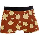 JIRT Slip da Uomo Boxer Autunno Foglia Floral Pattern Art Intimo Maschile Tronchi Elasticizzati Traspiranti Bulge Pouch Soft