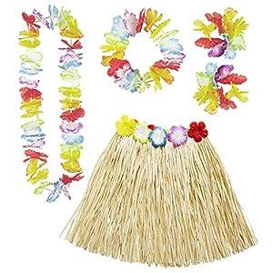 WIDMANN Set Hawaiano 24563- Falda Hawaiana con cinturón de Flores, Collar de Flores, Corona y 2Pulseras