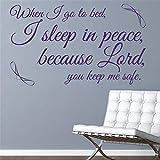wandaufkleber baumstamm weiß Wenn ich ins Bett gehe, schlafe ich in Frieden, denn Herr, du hältst mich in Sicherheit