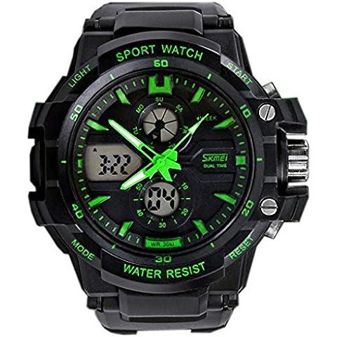 Skmei 0990 Uomo Orologi Sportivi LED Digital Outdoor orologio da polso resistente all'acqua Verde - Automatico Blu Mens Watch