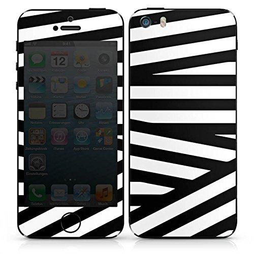 Apple iPhone SE Case Skin Sticker aus Vinyl-Folie Aufkleber Linien Schwarz-Weiß Muster DesignSkins® glänzend