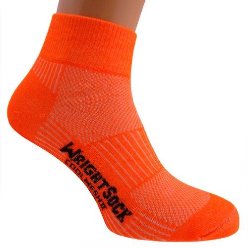 WrightSock Profi Sportsocke, Laufsocke Modell Coolmesh II in neon orange, Anti-Blasen-System, doppellagig, Quarter mittellang. L (Wrightsock Damen Socken)