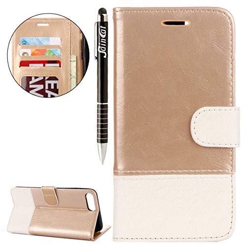 iPhone 7 Plus Custodia, iPhone 7 Plus Cover Wallet, SainCat Custodia in Pelle Cover per iPhone 7 Plus, Anti-Scratch Protettiva Caso Elegante Creativa Dipinto Pattern Design PU Leather Flip Portafoglio Oro + Bianco