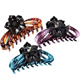 LONEEDY Pack of 3 No-slip Grip Large Crystal Plastic Octopus Flowers Jaw Clips Hair Claw for Women (Purple + Blue + Brown)