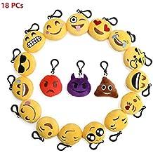 flintronic Llavero de Emoji, Set de 18pcs Emoji Peluche Whatsapp Suave y Carini, Ideal para la Decoración de la mochila, Bolso, ect de los bolsos de la aptitud. Regalo Perfecto, Regalo para Niños (18 Piezas)