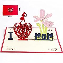 Idea Regalo - Deesos carta del papà,Biglietto d'auguri per mamma speciale, biglietto d'auguri pop-up 3D con bella carta tagliata, miglior regalo per il compleanno della mamma, busta inclusa