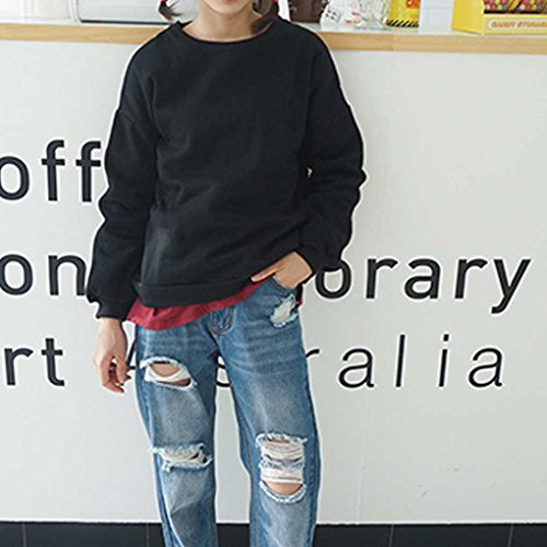 Minzhi Cappotto maglione con cappuccio da donna Cappotto allentato Cappotto casual Autunno Inverno Collo tondo Caramello tinta unita Rosa