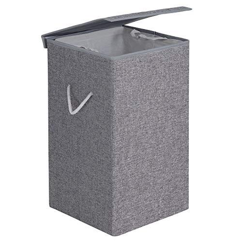 SONGMICS Wäschekorb 85 L, Wäschesammler aus Leinenimitat, Wäschetruhe mit magnetischem Deckel und Griffen, faltbar, Wäschesack herausnehmbar, grau LCB01G
