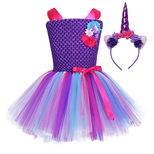 Freebily Vestido de Princesa Bautizo Cumpleaños para Niña Vestido Infantil Plisado Fiesta Niña con Diadema de Cuerno de Unicornio Morado 7-8 Años