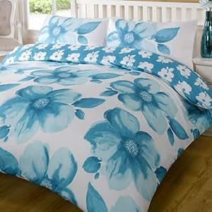Poppy Teal Blue White Floral Reversible King Size Duvet Quilt Cover Bedding Set