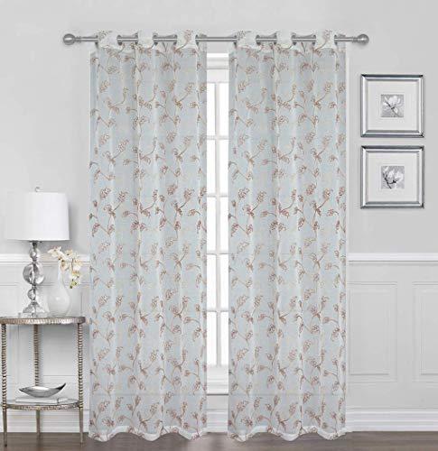 Sapphire Home Vorhänge mit Ösen, für Fenster und Fenster, aus Voile, 96,5 x 213,4 cm, Blumen-Stickerei, durchsichtig, für Schlafzimmer, Wohnzimmer, dekorative Vorhänge 84