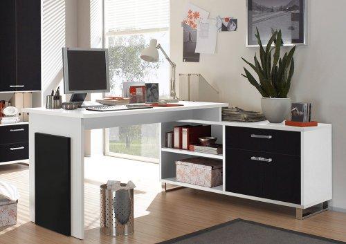 moebel-guenstig24.de Eckschreibtisch Manager Schreibtisch mit integriertem Sideboard Weiß Schwarz