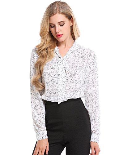 Meaneor Damen Chiffon Querbinder V-Ausschnitt Stehkragen Langarm Manschetten Polka Dots Asymmetrisch Saum Bluse Weiß Und Schwarz