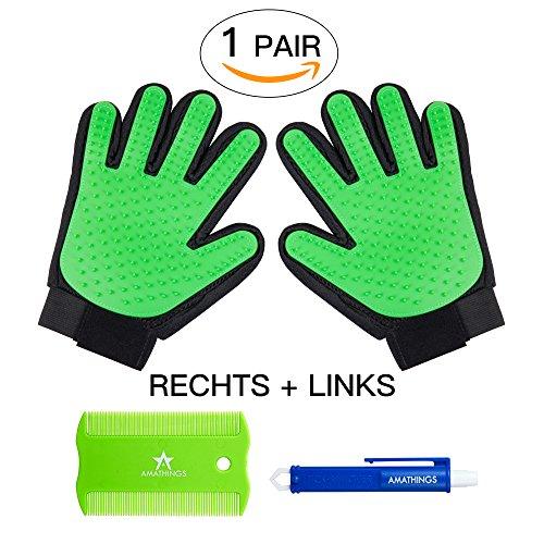 AMATHINGS 1 Paar = 2 Fellpflege-Handschuhe In Grün zur einfachen Entfernung Loser Tierhaare, Massage für Hund & Katze Plus Zeckenzange & Floh-kamm Grün