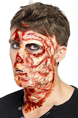 Smiffys, Unisex Verbranntes Gesicht Maske, Latex, One Size, Fleischfarben, 27742