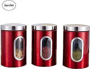 elec tech Vorratsdosen 3 pcs Rotes Dosenset aus Edelstahl mit Sichtfenster Luftdichte Behälter 1.5 L Tee Kaffee Zucker Kanister Set Kaffeedose für Küche