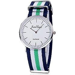JewelTimes Unisex Reloj de pulsera Minimal OTAN rayas tela banda plata 3008verde