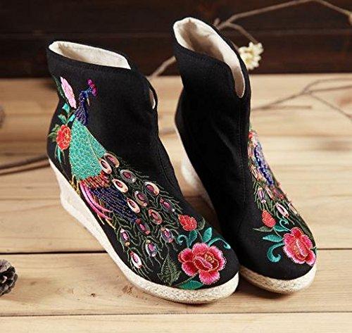 xiushang Herbst/Winter/Wasserdicht/kurz Stiefel High Gummi Heels/bestickt Stiefel/Retro/Ethnische Stil/NEU/manuell/weiblich Schwarz