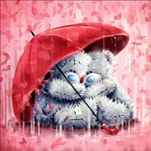 DIY 5D Diamond Painting, Crystal Rhinestone Diamond Embroidery Paintings Pictures Arts Craft for Home Decoration Red Umbrella Pudding Bear 11.8 X 11.8 Inch