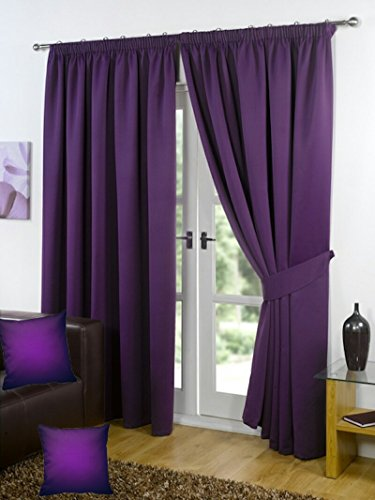"PENCIL PLEAT BLACKOUT CURTAINS TAPE TOP Supersoft Thermal Blackout Bedroom Curtains Pair with Matching Free Tie Backs & FREE PAIR OF CUSHION COVERS , Block Out Sunlight Keeps Heat in & Keeps Light out AUBERGINE PURPLE (90"" Width x 72"" Depth)"