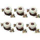 FBSHOP(TM) 6pcs Retro Keramik Türknauf /MöbelKnopf /Möbelgriffe für Küche Schränke, Kleiderschrank, Kommode, Schublade,Schranktür Schlafzimmer und Badezimmer KinderZimmer Dekor etc. (Bronze-weiß)