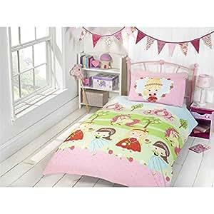 Jolie princesse et licorne Parure de lit simple pour fille
