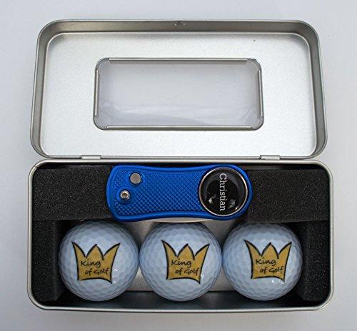 Geschenk-Box King of Golf - Bälle und Pitchgabel mit personalisiertem Marker -