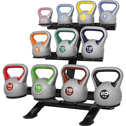 GORILLA SPORTS® Kettlebell Stylish Kunststoff 113 kg Set inkl. Ständer - 11er-Set Fitness-Kugelhanteln mit Ablage Schwarz