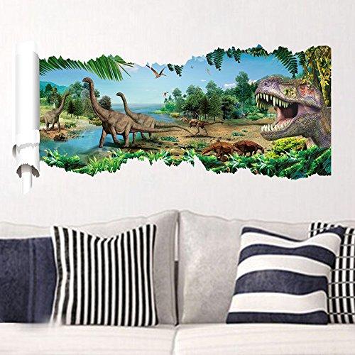Stickerkoenig Wandtattoo Dinosaurier Dinos Kinderzimmer Wandsticker Tapete Aufkleber Urzeit X1 3D Wanddurchbruch Aufkleber Dekoration