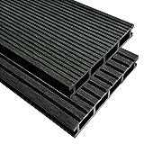 tuduo WPC Terrassendielen mit Zubehör 26M² 2,2m anthrazit Größe 2200x 150x 25mm (L x W x T)