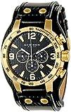 Akribos XXIV Men's AK727YG Chronograph Quartz Movement Watch with Black Dial and Black Genuine Leather Strap