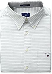 Gant Mens Horizontal Stripe Shirt, Stone Grey, Large
