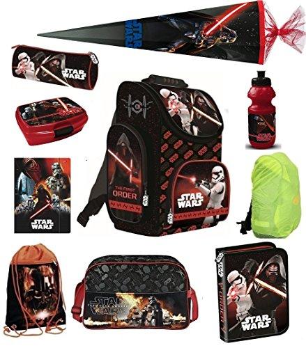 Familando Star Wars Schulranzen Set 10tlg. Sporttasche CE, Schultüte 85cm, Federmappe, Regen-/Sicherheitshülle Episode PL