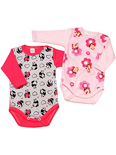 Klekle Baby Mädchen Langarm Body 2er Set Rosa Pony/Pink Panda 22791 Größe 104 Pink Collection-pyjama Set
