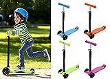 AIMADO Kinder Kinderroller TretrollerT-Lenker ab 3-13 Jahre mit leuchtende Räder Belastbarkeit bis 60 kg Farbwahl Scooter Cityroller Kickroller