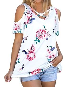 OverDose mujer blusa camiseta attracitve sin tirantes de manga corta de impresión remata la blusa
