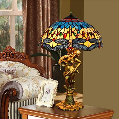 16-zoll Tiffany Tischlampe Bunte Glasmalerei Tischlampe Schlafzimmer Nachttischlampe Exquisite Gelbe Libelle Lampe -