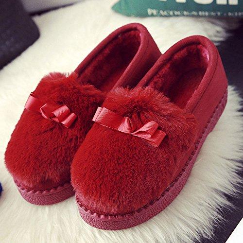 DogHaccd pantofole,Inverno caldo cotone pantofole in camera, spessa antiscivolo pacchetto termale con eleganti scarpe di cotone morbido scarpe di fondo Rosso porpora3