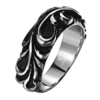 Lureme® Punk Retro Ancient Maya Biker Gothic Chrome Hearts Style Stainless Steel Silver Black Band Ring for Men and Women(04001159-parent) (10)