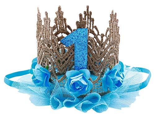 (Cloud Kids Baby Princess Crown 1 Jahr Geburtstag Haarband Mädchen Blume Krone Stirnband Haarschmuck (Blau))