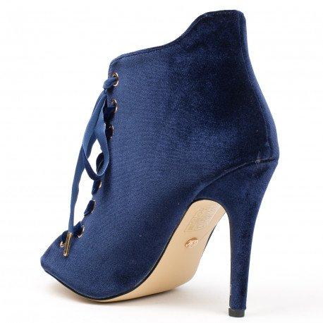 Ideal Shoes - Bottines peep toe à lacets et effet velours Abisha Bleu