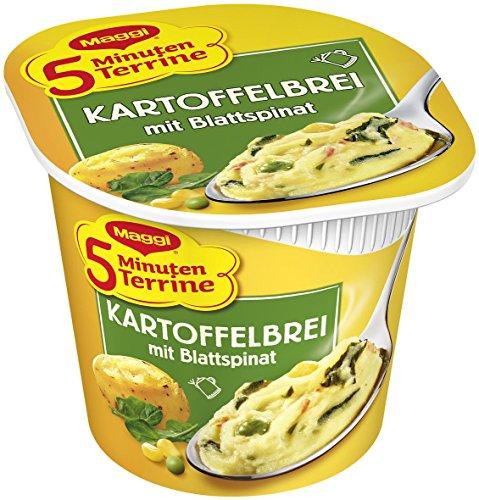 Maggi 5 Minuten Terrine Kartoffelbrei mit Blattspinat, 8er Pack (8 x 47 g)