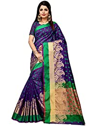 Vahni Women's Cotton Silk Saree With Blouse Piece Material (Sky Blue)