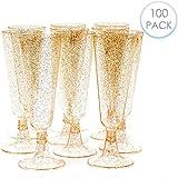 100 Flute da Champagne Plastica USA e Getta con Glitter Dorati, 150ml - Elegante, Resistente, Monouso o Riutilizzabile - Bicchieri Prosecco per Feste Matrimoni Party Compleanni Natale Capodanno.