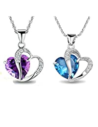 Findout Collier avec pendentif en argent sterling pour femme Bleu / Blanc / Améthyste / Cœur (dans une boîte cadeau)